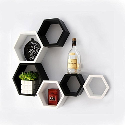 Artesia Decorative Wooden Black & White Hexagon Shape Wall Shelf Set Of 6