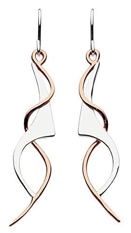 Dew Women's Rose Gold Plate Art Nouveau Drop Earrings