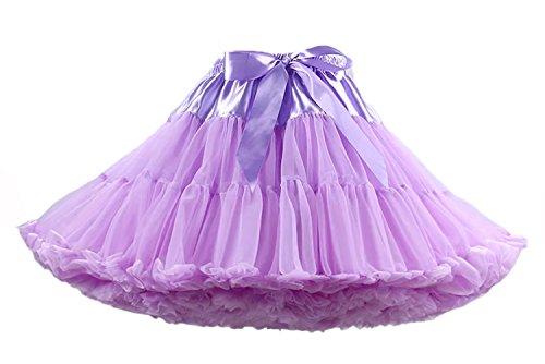 Facent Damen Tütü Tüllrock Midirock Unterrock Tüll Glockenrock Reifrock Underskirt Petticoat Kleid Lavendel (Mini-kleid Jahre 80er)
