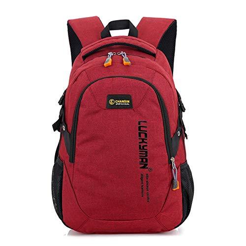 Cvxgdsfg Mode Männer und Frauen Designer Student Tasche Männer Rucksack Oxford Männliche Reisetasche Rucksäcke Laptoptasche Hohe Kapazität Rucksack (Color : Red, Size : 14 inch)