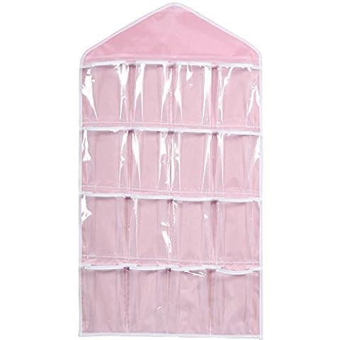 16 Pockets Clear Over Door Hanging Bag Schuh Rack Hanger Unterwäsche BH Socken Closet Storage Organizer (Pink)