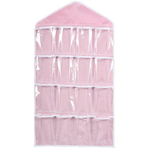 16bolsillos claro perchero de bolsa de para colgar de la puerta zapatero armario de ropa interior calcetines de sujetador de almacenamiento organizador (verde)