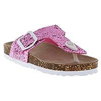 Capelli New York Girls Fashion Flip Flops with Gem Trim Pink Size: M Big Kid