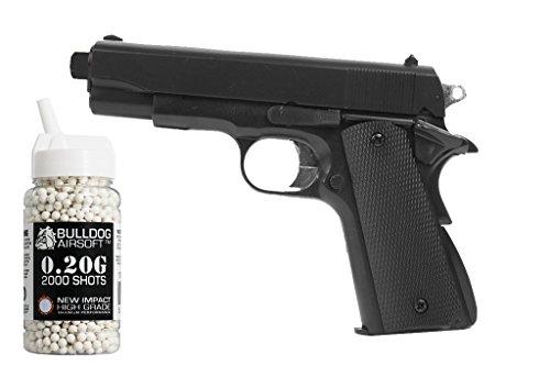Preisvergleich Produktbild HFC Softair Federdruck Pistole 1911 Stil,  0.5 Joules,  Gratis Bulldog Airsoft 2000 0.20g Bbs,  HA102