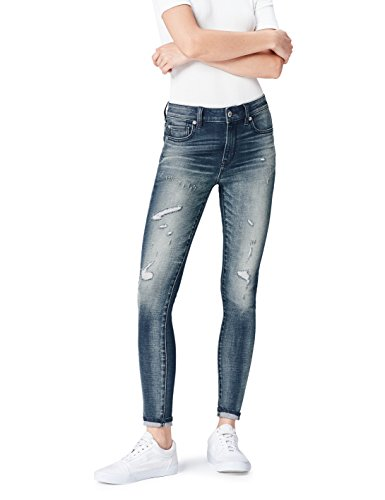 Indigo Denim (FIND Damen Jeans Distressed, Blau (Mid Indigo), 38 EU (Herstellergröße: 10))