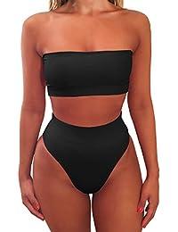 ISASSY Damen Bikini Set Sexy Strand Badeanzug hohe Taille Bademode Bandeau