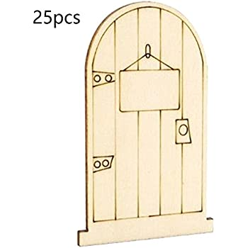 SurePromise 25pcs Laser Cut Wooden Fairy Faerie Elf Doors Unpainted with Plaque Arts & Crafts Home & Kitchen