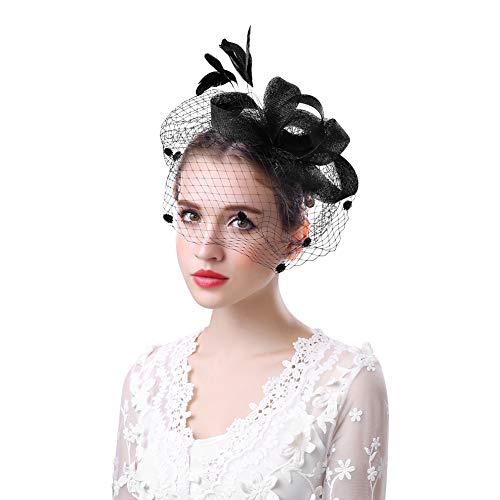 Party Kostüm Tanz Tea - Fascinator Hut Damen Mädchen Haarschmuck mit Schleier Mesh Blumen Stirnband Vintage Haar Clip Tea Party Hochzeit Haarreif Feder Kopfschmuck mit Haarklammer für Fasching Karneval Cocktail