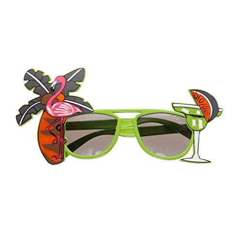 Flamingo Cocktail Hawaiische Sonnenbrille Fancy Dress Spaßbrillen Brille Kostüm - Grün, XXXXL
