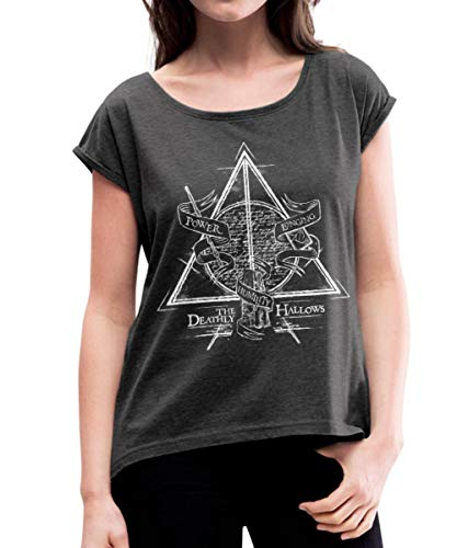 Spreadshirt Harry Potter The Deathly Hallows Frauen T-Shirt mit gerollten Ärmeln, XL (42), Schwarz meliert