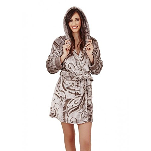Continental Textiles -  Accappatoio  - Donna Taupe Flannel Paisley Medium