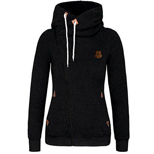 ShenLiNan Women's Oblique Zipper Solid Hoodie Jacket Coat