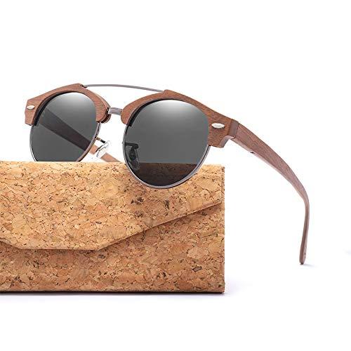 LKVNHP Markendesigner Männer Halbrandlose Holz Sonnenbrille mit Polarisationslinse Womens Sonnenbrille Travel DrivingBlack
