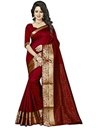Nirja Creation Red Color Cotton Banarasi Silk saree