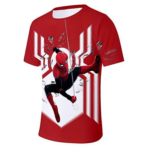 WQWQ T-Shirt für Herren und Damen Shirt Spider-Man Heroes Expedition Kurzarm Rundhals Digitaldruck Fitness Schnelltrocknendes Schweißgeschenk,B,XXXL (Spiderman Damen Shirt)