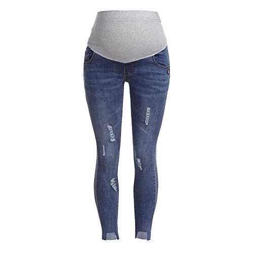 Bolawoo vestiti premaman delle donne jeans de marca pantaloni gravidanza strappati mode di maternità puntello di pancia di professione d infermiera legging (color : azzurro, size : 2xl)