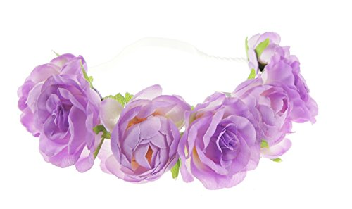 Mesdames rose grande taille/festival/style bohème mariée bandeaux frontal élastique Fleur Violet