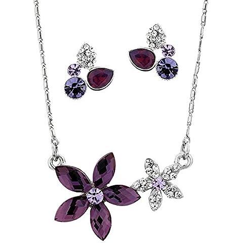NEOGLORY Conjunto Flores Collar Pendientes con Cristales Morados Joya Original Mujer