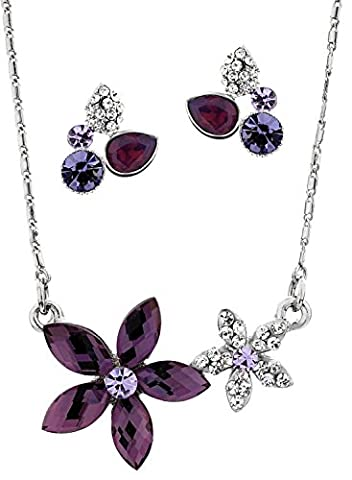 Neoglory® Gorgeous Amethyst Crystal White Gold Plated Flower Shaped Necklace and Earrings Set