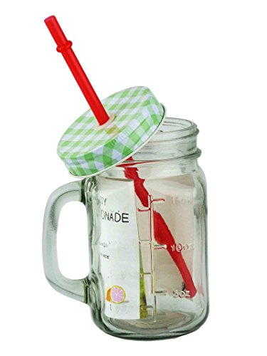 1X Bicchiere in vetro con coperchio tazza bicchiere di succo in vetro acqua Country Vintage, verde