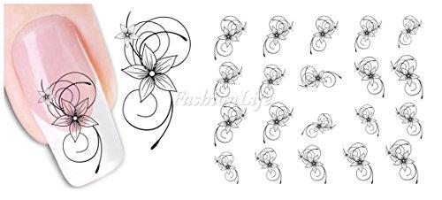 Stickers Pour Ongles avec des Fleurs - Fleur - XF1443 Nail Sticker Tattoo - FashionLife