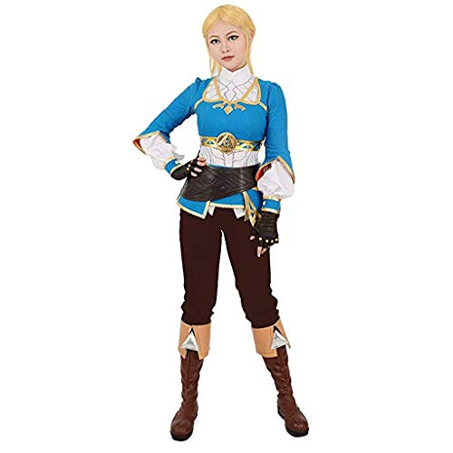 Cosplay Zelda Kostüm - Frauenatem Wild Princess Cosplay Kostüm The Legend of Zelda Die Wildnis der Prinzessin Zelda Casual Cosplay Kostüm (Color : Blue, Size : XL)