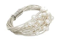Idea Regalo - Bracciale da donna di perle d'acqua dolce coltivate da 6 a 6,5 mm Secret & You | Montato su cordino in tessuto di alta qualità e chiusura magnetica in acciaio inossidabile.