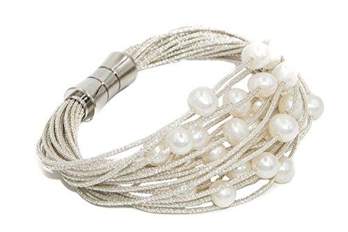 Bracciale da donna di perle d'acqua dolce coltivate da 6 a 6,5 mm secret & you | montato su cordino in tessuto di alta qualità e chiusura magnetica in acciaio inossidabile.