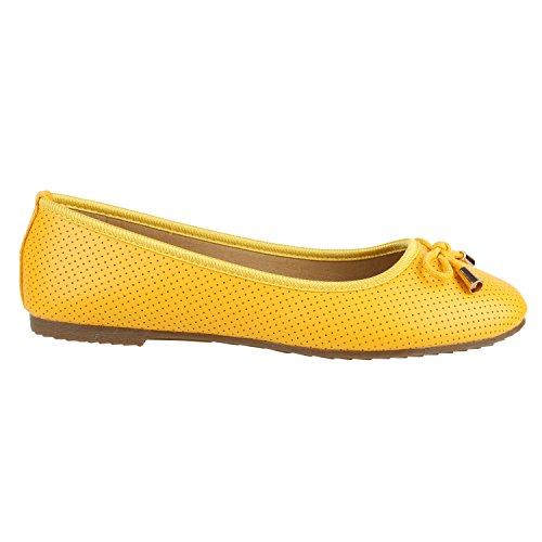 Klassische Damen Ballerinas Lederoptik Basic Freizeit Schuhe Übergrössen Gelb Gold