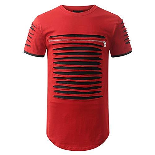 (UJUNAOR Kurzarmhemd für Herren im Frühjahrs- und Sommermode Lässig O Hals Tee Shirt(Rot,CN M))