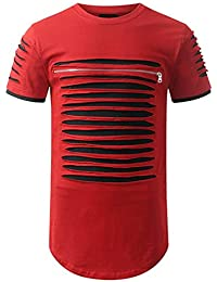 FIRSS Herren Kurzarmshirt   Reißverschluss T-Shirt Streifen Rundhals Shirt  Ripped Pullover Zerrissen Basic Sweatshirt e5706b2e0e