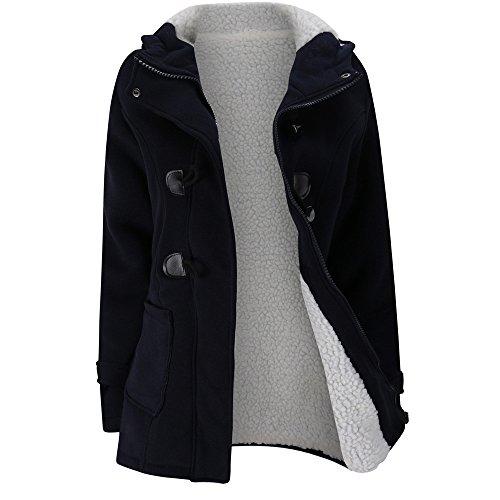 JUTOO Frauen halten warme Windbreaker Outwear warme Wolle Slim Long Coat Jacke Graben(Marine,Medium)