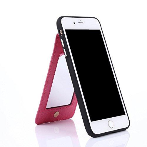 """MOONCASE iPhone 7 Plus Coque, Prime PU Cuir Cartes Holster avec Miroir Housse Ultra Slim Anti-dérapante Shock Absorption Protection Etui Case pour iPhone 7 Plus 5.5"""" Noir Hotpink"""