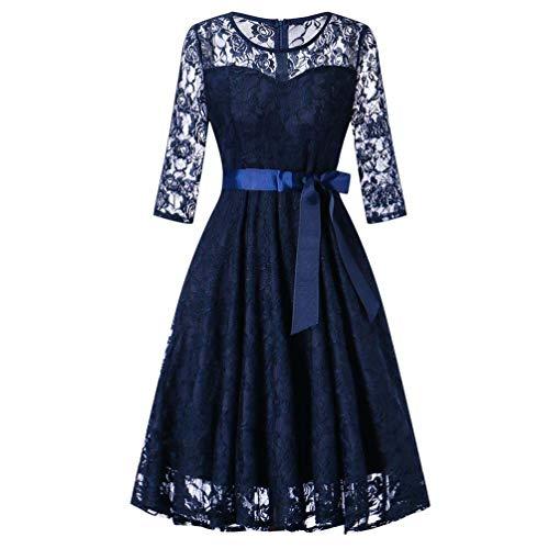 Qiusa Womens Long Sleeve Formal Dress Hochzeit Brautjungfer Spitze langes Kleid für Damen (Farbe : Blau, Größe : XXL)