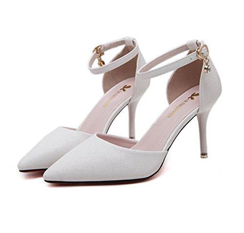 Bombas Toe De Sapatos Trabalho Branco Senhoras No De Fivela Sapatos Salto Strass Alto Pontudo Sapatos Tira Tornozelo Belos De Saltos XrtCrWqw