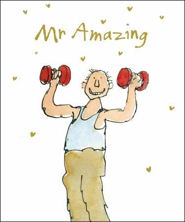 Grüße Karten (wdm5406) Valentinstag Karte–Gewicht heben–aus der Serie Quentin Blake–Geprägte Oberfläche. (Gewicht Muskel-mann)