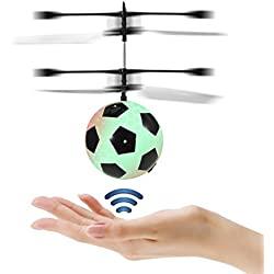 ETPARK Bola voladora RC, Bola RC con Led Llamativo Juguete RC Juguete RC Flying Ball para niños Adolescentes (Versión de fútbol)