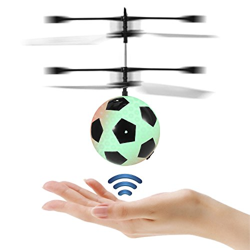 JAMSWAL RC Fliegender Ball RC Infrarot Induktionshubschrauber RC Spielzeug Ball mit LED Leuchtung für Kinder (Football Shape with Remote Controller)