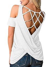 Camisas Mujer,Longra ☆ Moda Para Mujer Fuera del Hombro o-Cuello Sólido de Manga Corta Ahueca Hacia Fuera la Blusa de la Camisa…