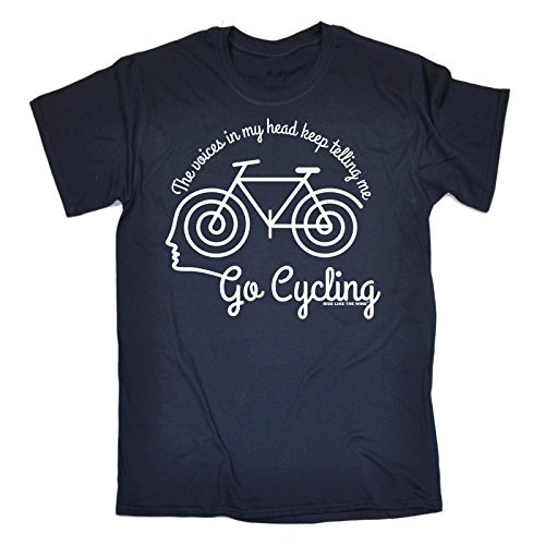 Ride Like The Wind 123t Men's The Voices In My Head Keep Telling Me Go Cycling T-Shirt Birthday Funny Gift For him For Her