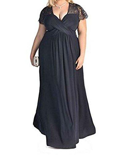D-Pink Damen V-Ausschnitt Halbarm Lange Abendkleid Übergröße Spitze Brautjungfer Hochzeitskleid...