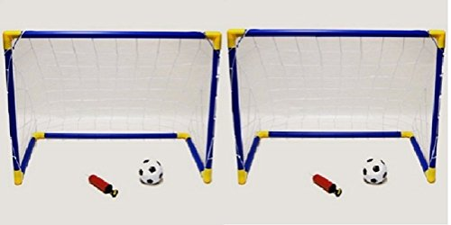 Kids Childrens 2 x Football Soccer Goals Posts with Nets Pegs Ball   Pump Kids Childrens Junior Fun Small Mini Portable Indoor Outdoor Sport Training Practice Set