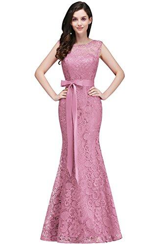 Damen Elegant Spitzen Hochzeitskleid Abendkleid Rundhals Brautjungferkleid Cocktailkleid Langes...