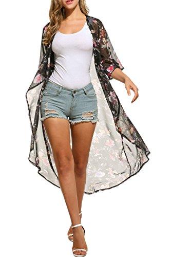 ZEARO Damen Tops Bluse Strandkleid Cardigan Kimono Chiffon Sommer 3/4 Ärmel Blumendruck Asymmetrisch Saum Schwarz