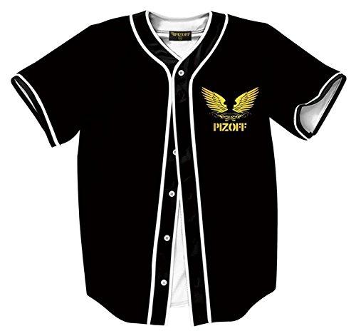 Pizoff Herren Hip Hop 3D Druck Baseball Hemd Urban Classic Baseball Jersey Vape Vapor Wirbel (Co-baseball-jersey)