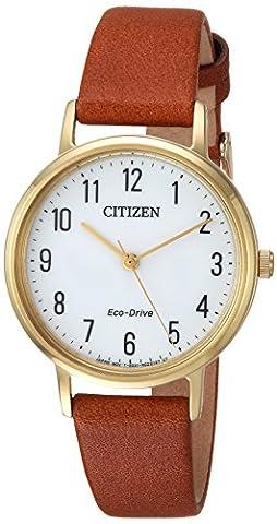 Citizen CITIZEN ECO-DRIVE Damen Quarz Edelstahl und Leder Casual Uhr, Farbe: Braun (Modell: