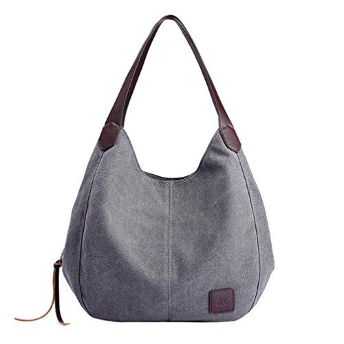 VENMO Frauen Leinwand Handtaschen Vintage hohe Qualität weibliche einzelne Umhängetaschen Damen Umhängetasche Damen Henkeltasche Schultertasche Umhängetasche Leichte Schultertasche (Gray)