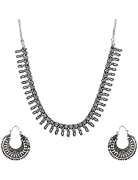 Ganapathy Gems Silver Metal Strand Necklace Set For Women (GPJC41)