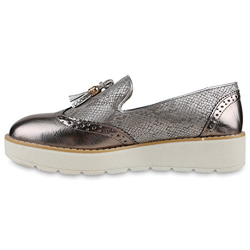 Damen Slipper Lack | Plateau Loafers | Metallic Schuhe Profilsohle | Loafer Flats Glitzer | Slippers Quasten Lochung Bronze Quasten