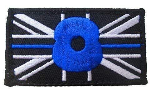 Polamb Produkte Dünn Blaue Linie Erinnerung Polizei Union Jack Haken + Loop Verstärkte Aufnäher (UK Abzeichen Abzeichen) Blau -